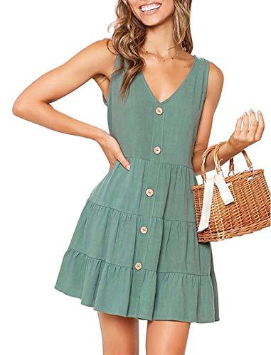 OEUVRE Women Button Down Dress for Women Petite Cute A Line Ruffle Tank Dress with Button (Small, Green1) -