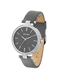 Dictac Women Lady Waterproof Analog Quartz Crystal Dial Clock Leather Wrist Watch ( Model:102401) (Grey)