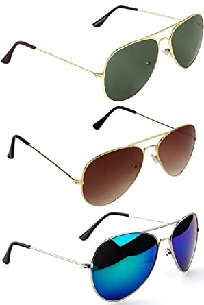 9051a5a52f6 Sheomy Stylish sunglasses 3 Combo Set of 3 UV Protect Aviators Unisex  sunglasses   goggles for Men Women with three Boxes Best Online Gifts   Amazon.in  ...
