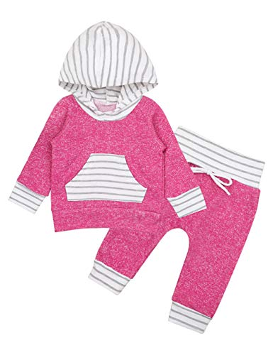 Baby Girls Long Sleeve Hoodie with Kangaroo Pocket Top and Pants Outfit Set