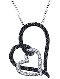 3/8 Ct Black & White Natural Diamond Double Heart Pendant In 14k Gold Over Sterling Silver