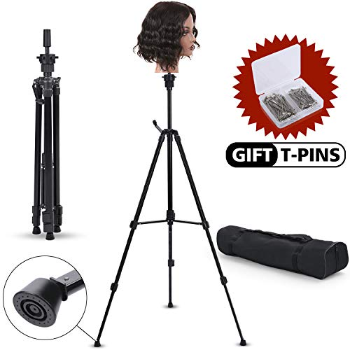 Klvied Metal Adjustable Tripod Wig Stand, Mannequin Head Holder Stand, Canvas Block Wig Head Stand, for Hairdryer, Hair Salon, Hairdressing, Cosmetology Training with T-Pins, Portable Travel Bag, Black