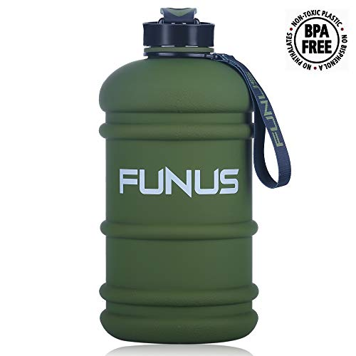 FUNUS Water Jug 2.2L Large Water Bottle BPA Free Leak Proof Reusable Odorless Big Capacity Water Jug for Men Women Fitness Gym Outdoor Climbing Sports Water Bottle (2.2L Rubber Coating Rifle Green)