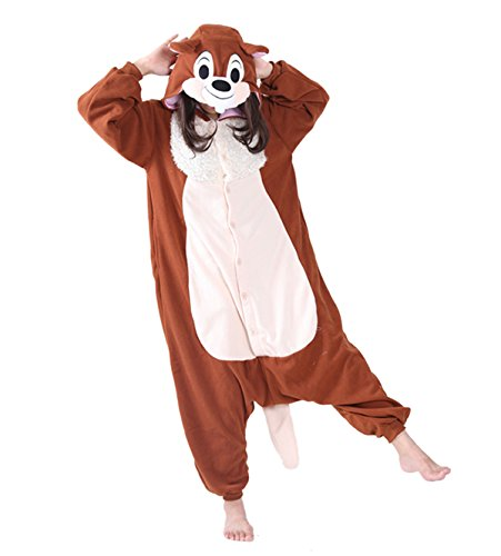 [Adult Squirrel Onesie Costume for Women Men Kigurumi Pajamas Animal Cosplay Partywear L] (Animal Costumes Coupon Code)