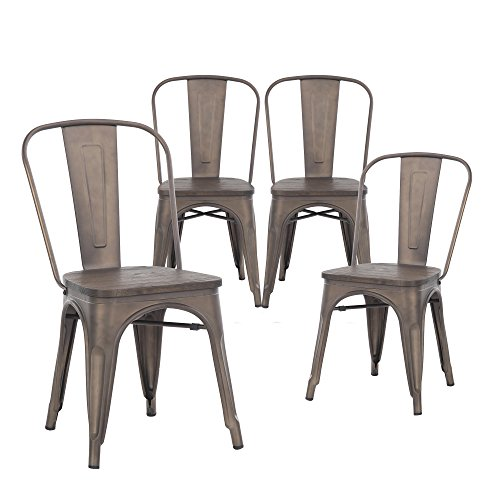 Buschman Set of 4 Bronze Wooden Seat Tolix-Style Metal Chairs, Indoor/Outdoor and Stackable For Sale