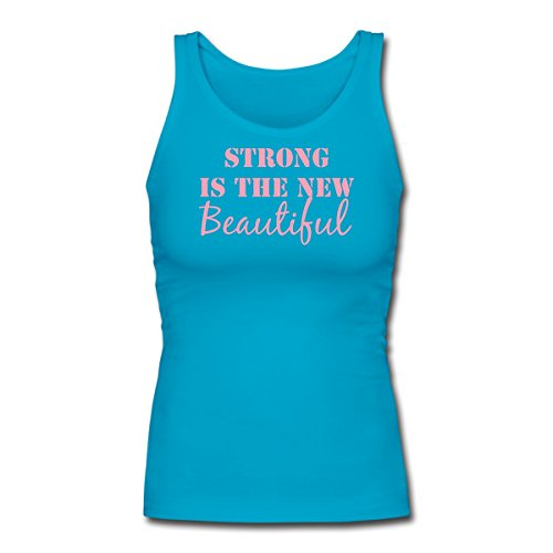 Spreadshirt Strong Is The New Beautiful Tank Top Womens Longer Length Fitted Tank  Xl  Turquoise