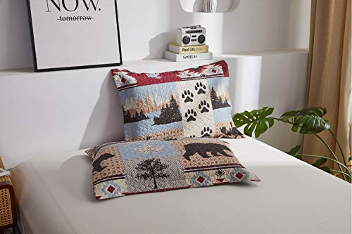 Lodge Bedding Set Full/Queen Size Rustic Cabin Quilt Set Pine Tree Moose Bear Bedspread Coverlet with Sham Soft Reversible All Season Bed Set, 1 Quilt 2 Pillow Shams