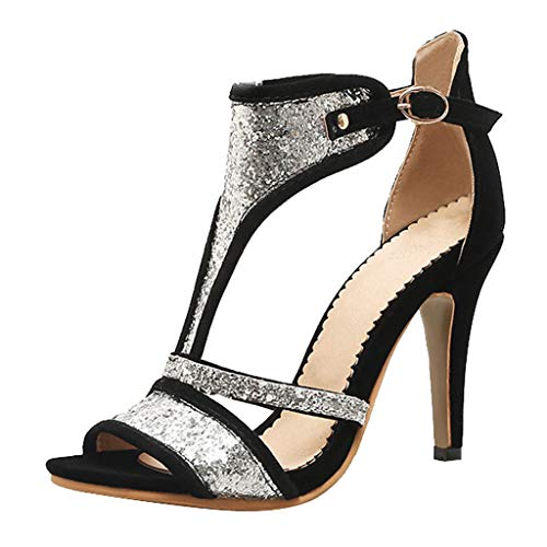 4' Stiletto High Heel - Cenglings Pumps,Women's Sexy Pointed Toe Sequin High Stiletto Heels Pumps Rhinestone Hollow Out Ankle Strap Party Sandal Black