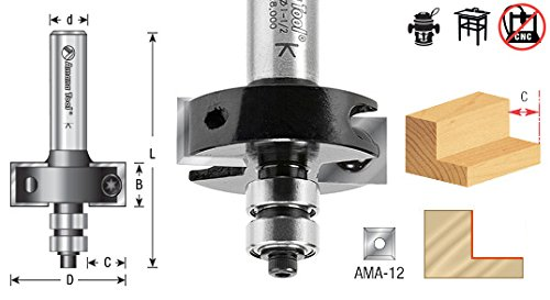 Amana Tool RC-49355 Insert Superabbet Jr 1-1/2 D x 12mm CH x 1/2 Inch SHK Router Bit