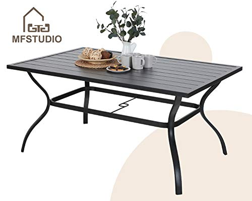 Outdoor Dining Slat Table Black Rectangle Patio Bistro Table Sturdy Steel Frame Home Metal Table Stand Deck Outdoor Furniture Garden Table, Black