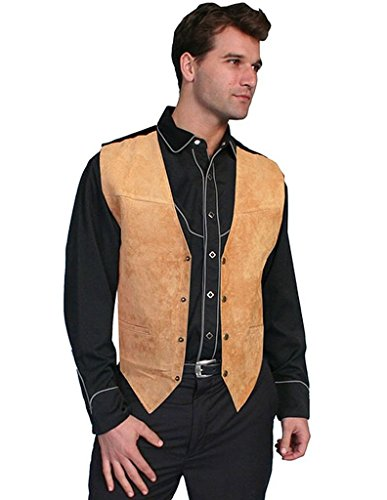 Scully Leather Men's Boar Suede Snap Front Vest 504,Bourbon Boar Suede,US S