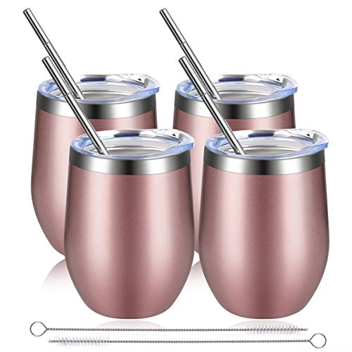 Stainless Steel Wine Glass, keshi, Wine Glass With Lid, Wine Tumbler, Double Vacuum Insulated Travel Mug, for Wine, Champagne, Beverage, Coffee - 12 Oz (4 Packs, Rose Gold)