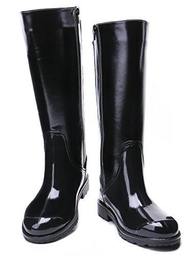 TONGPU Women's Stylish Waterproof Knee High Leather Wellies Wellington Black Rain Boots Black-2 f7GGrO