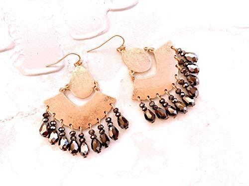 Raw Brass Statement Earrings, Raw Brass Vintage Tear Drop Earrings, Black stone Drop Earrings, Statement Gold Earrings, Vintage Earrings ()