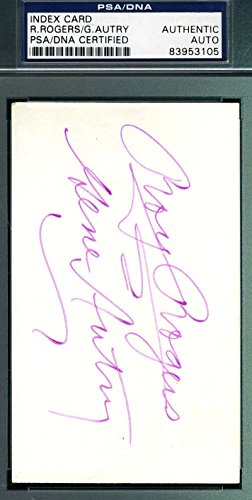 ROY ROGERS GENE AUTRY PSA/DNA HAND SIGNED 3X5 INDEX CARD AUTHENTICATED AUTOGRAPH