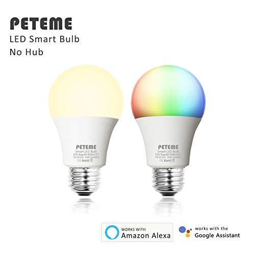 PETEME LED Smart WiFi Bulb, A19 LED Smart Bulb, White/RGB, E26 7W Equivalent 60W,Work with Alexa and Google Assistant Without Hub for Ressidential Light Bulb(2 Pack)