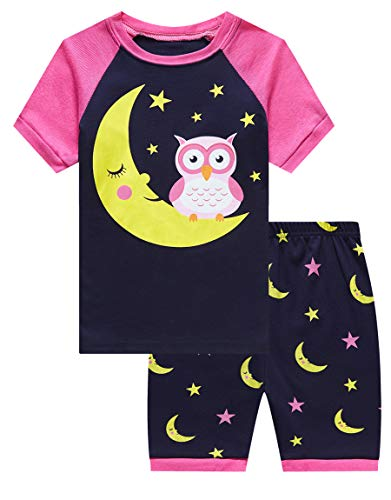 (Family Feeling Little Girls Owl Pajamas Short Sets 100% Cotton Kid 7 )
