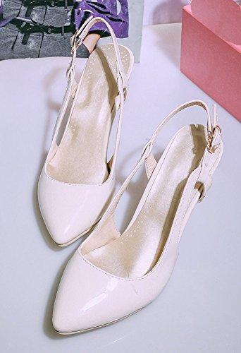 Aisun Women's Trendy Pointy Toe Strappy Buckle Dress Kitten Heels Sandals Beige bLvYzG6w3s