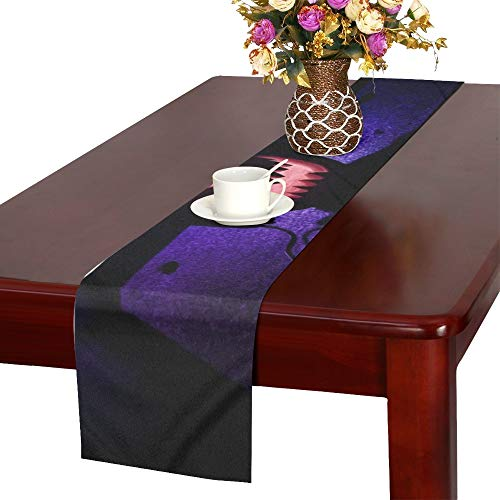 Halloween Pumpkin On Dj Table Headphones Table Runner, Kitchen Dining Table Runner 16 X 72 Inch for Dinner Parties, Events, Decor -