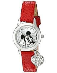 Disney Women's Mickey Mouse Lizard Strap with Charm Watch Silver MK1018