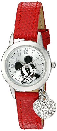 Disney Women's MK1018 Mickey Mouse Red Lizard Strap with Charm Watch -