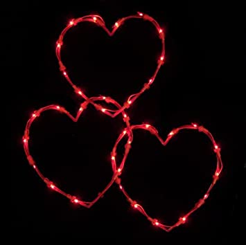 NorthLight Red Lighted Valentines Day Twinkling Heart Icicle Lights - Red Wire, Set Of 3