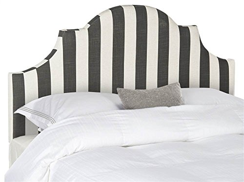 Upholstered Stripe - Safavieh Hallmar Black/ White Stripe Upholstered Arched Headboard (King)