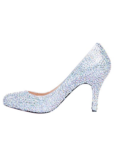 Bridesmaid Party Bridal Heels Sss003 Shoes High Toe Pointed Court heel Women's Rhinestone Wedding Prom Height 8cm Silver Sarahbridal XzPfgwqY