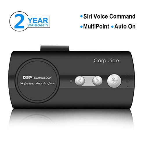 Carpuride Bluetooth Handsfree Car Kit, AUTO ON Visor Bluetooth Speakerphone, Support Siri Google Voice Command, Phone GPS Music Player, Dual Link, High Clear Call