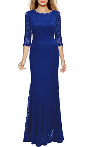 Viwenni Women's Lace 2/3 Sleeves Long Bridesmaid Prom Homecoming Gown Long Dress