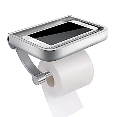 Homemaxs Toilet Paper Holder with Shelf, Anti-Rust Aluminum Toilet Roll Holder with Phone Shelf for All Mobile Phone, Wall Mounted Bathroom Tissue Holder for Smartphone and Flushable Baby Wipes