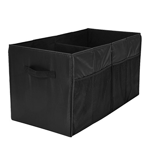 Trunk Organizer for Car with Two Handles and Side-Pockets, MaidMAX Collapsible SUV Storage Container with Two Large Compartments for Vehicle Pickup, Black, 25.5''×13.5''×13''