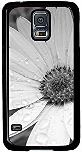 Black and White Flowers Samsung Galaxy S5 Case Pattern Monogram Durable Protective Case for Black Cover Skin - Compatible With Samsung Galaxy S5 SV i9600