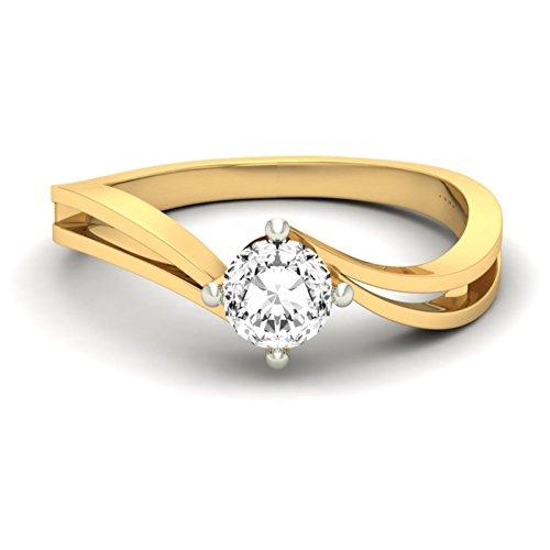 14K Or jaune 0,3CT TW Round-cut-diamond (IJ | SI) en diamant