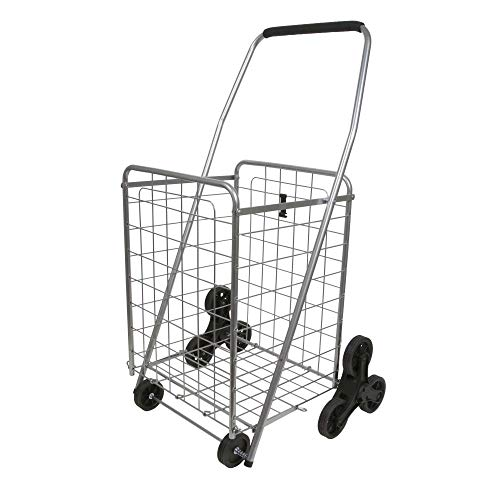 Stair Climber Cart in Silver | Folding Cart Holds Up to 60 lbs - Great for Shopping, Camping, Sport Events, & Much More ()