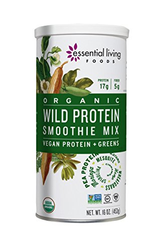 Essential Living Foods Organic Wild Protein Smoothie Mix, With Super Greens, Moringa, Spirulina, Wheatgrass, Mesquite, Lucuma, Vegan, Non-GMO, Gluten Free, Kosher, 16 Ounce Tin - Super Smoothie Mix