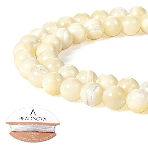 (BEADNOVA Natural White Mother of Pearl Shell Beads Natural Crystal Beads Stone Gemstone Round Loose Energy Healing Beads with Free Crystal Stretch Cord for Jewelry Making (8mm, 45-48pcs))