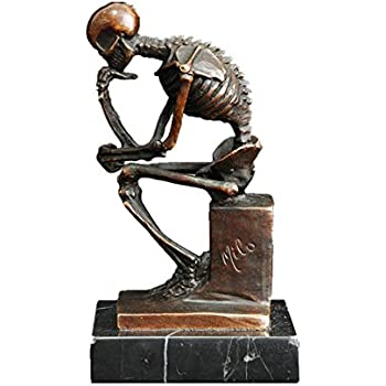 Toperkin TPE-998 Thinker Statue Home Deco Famous Art Skeleton Bronze Sculpture