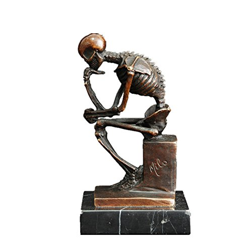 (Toperkin Skeleton Thinker TPE-998 Bronze Statues Sculptures Home Decor)