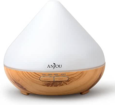 Essential Oil Diffuser 300mL Anjou Aromatherapy Diffusers, Ultrasonic Aroma Humidifier (Up to 8H Use, Mist Control, Waterless Auto Shut-Off, 4 Timer Settings, 7 Color LED Lights, Wood Grain, BPA-free)
