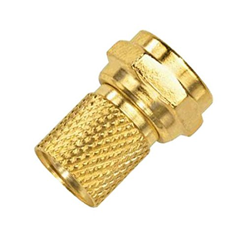 Twist On F-Connector RG6 Gold Plated Brass Single 25 Pack RG-6 Coaxial Cable Digital Satellite Dish Antenna TV Signal Tool Less Connector, Easy Hook-Up Component Plugs (Steren Rg6 Twist)