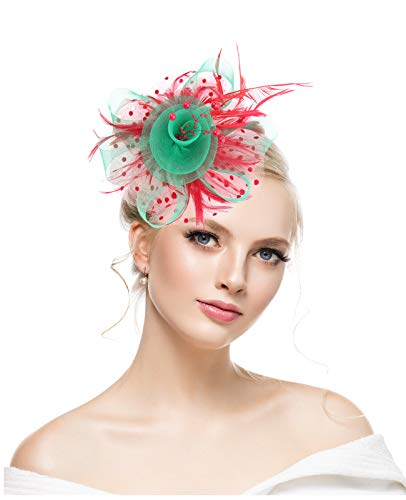 KASTE Fascinator for Women Feather Mesh Net Veil Party Hat Flower Derby Hat with Clip and Hairband for Christmas]()