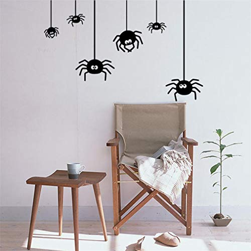 Removable Halloween Spider Background, Cute Spiders Cartoon Wall Sticker, Decor Decals, Family DIY Decor Art Stickers Home Decor Wall Art for Kids Bedroom Office Home Decoration (Black) ()