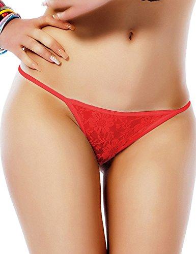 Oliveya Womens G-String Sheer Lace Bikini Thong Red Lingerie T-Back Panties XXL (G-string Sheer)