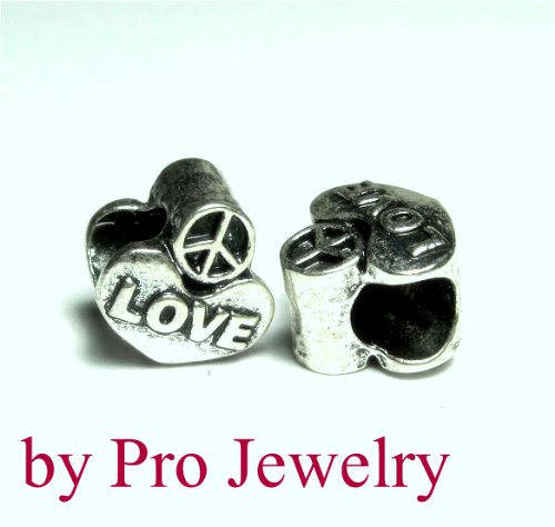 European Style Love Heart Charm Bead. Compatible With Troll, Zable, Baigi, Chamilia, And Many More Charm Bracelets. Heart Zable Bead