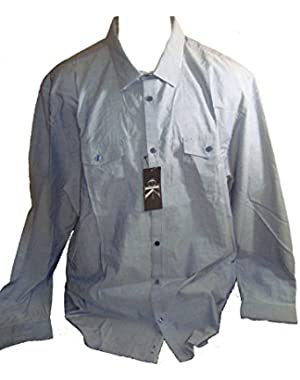 Calvin Klein Men's Casual Button Down Long Sleeve Shirt (Dress Blues, XX-Large)