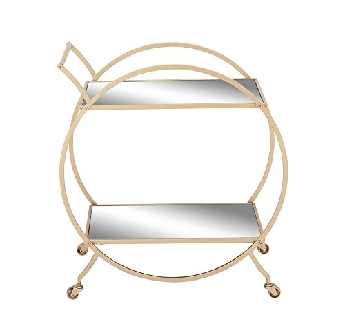 Benzara 65605 Modish Metal Mirror Cart by Benzara