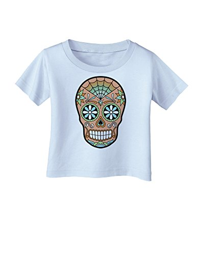 TooLoud Version 6 Copper Patina Day of the Dead Calavera Infant T-Shirt - Light Blue - 18Months