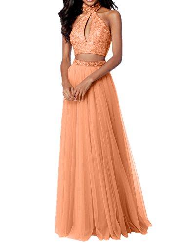 Damen Teilig Rosa mit Tuell Abiballkleider Promkleider Steine Orange Abschlussballkleider Charmant Abendkleider Zwei IRwqIf
