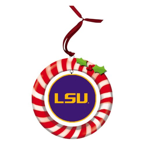Tigers Candy Cane Ornament - Louisiana State University Candy Cane Wreath Ornament